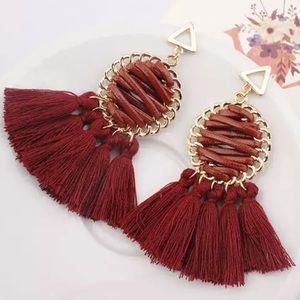 Jewelry - Mark Down! Woven Burgundy Leather Tassel Earrings
